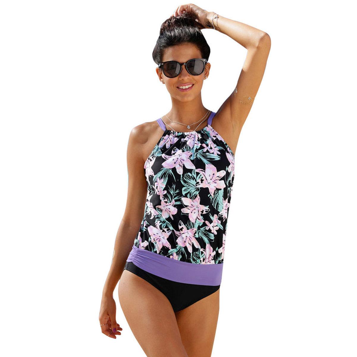 碎花紫色泳衣套裝 尺碼: L