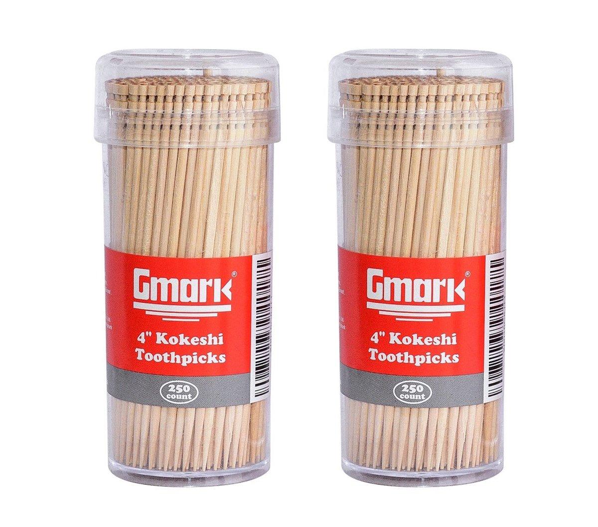 "Premium 4"" Kokeshi Toothpicks Skewers 500ct (2 Packs of 250) GM1034"