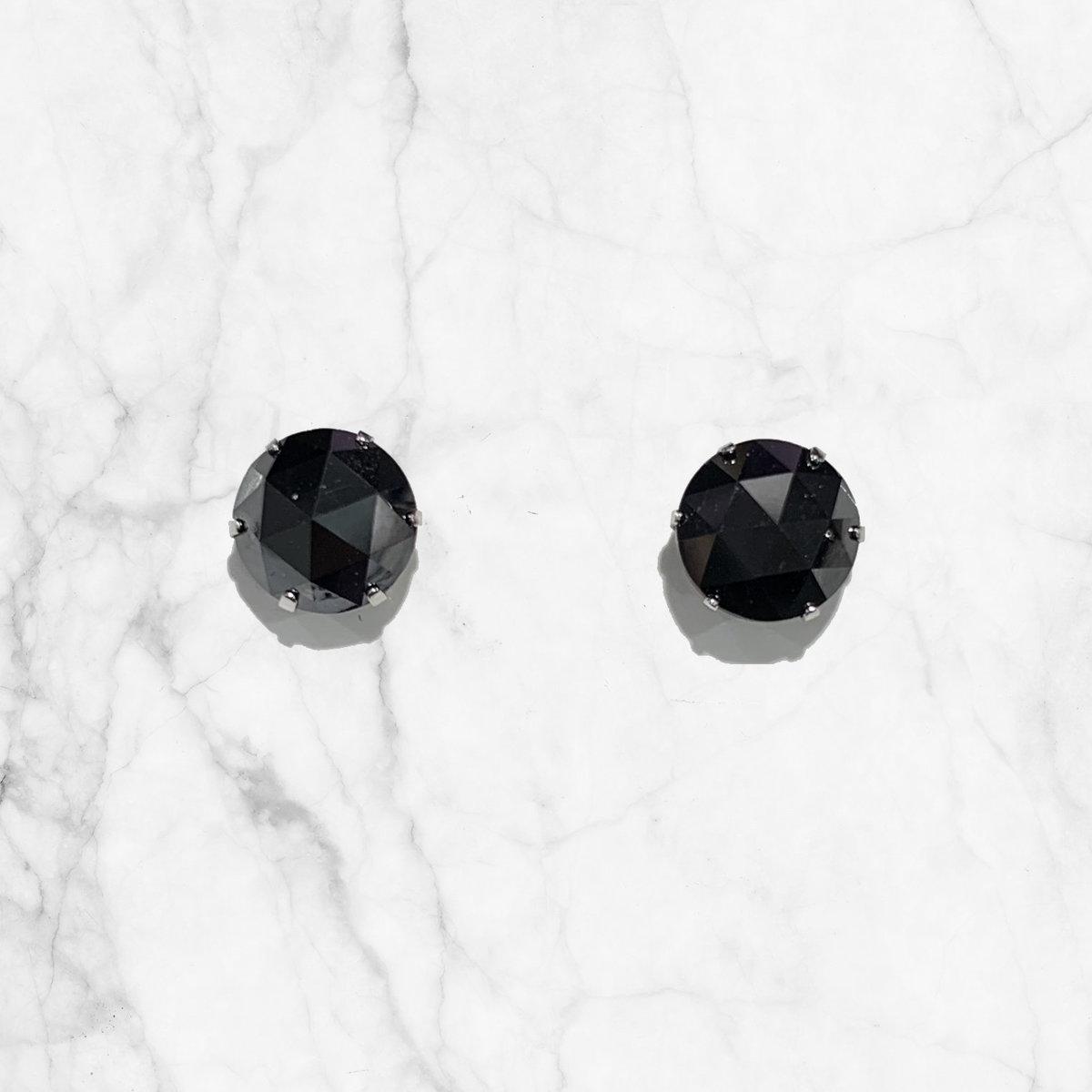 PT900鉑金兩卡黑鑽耳環
