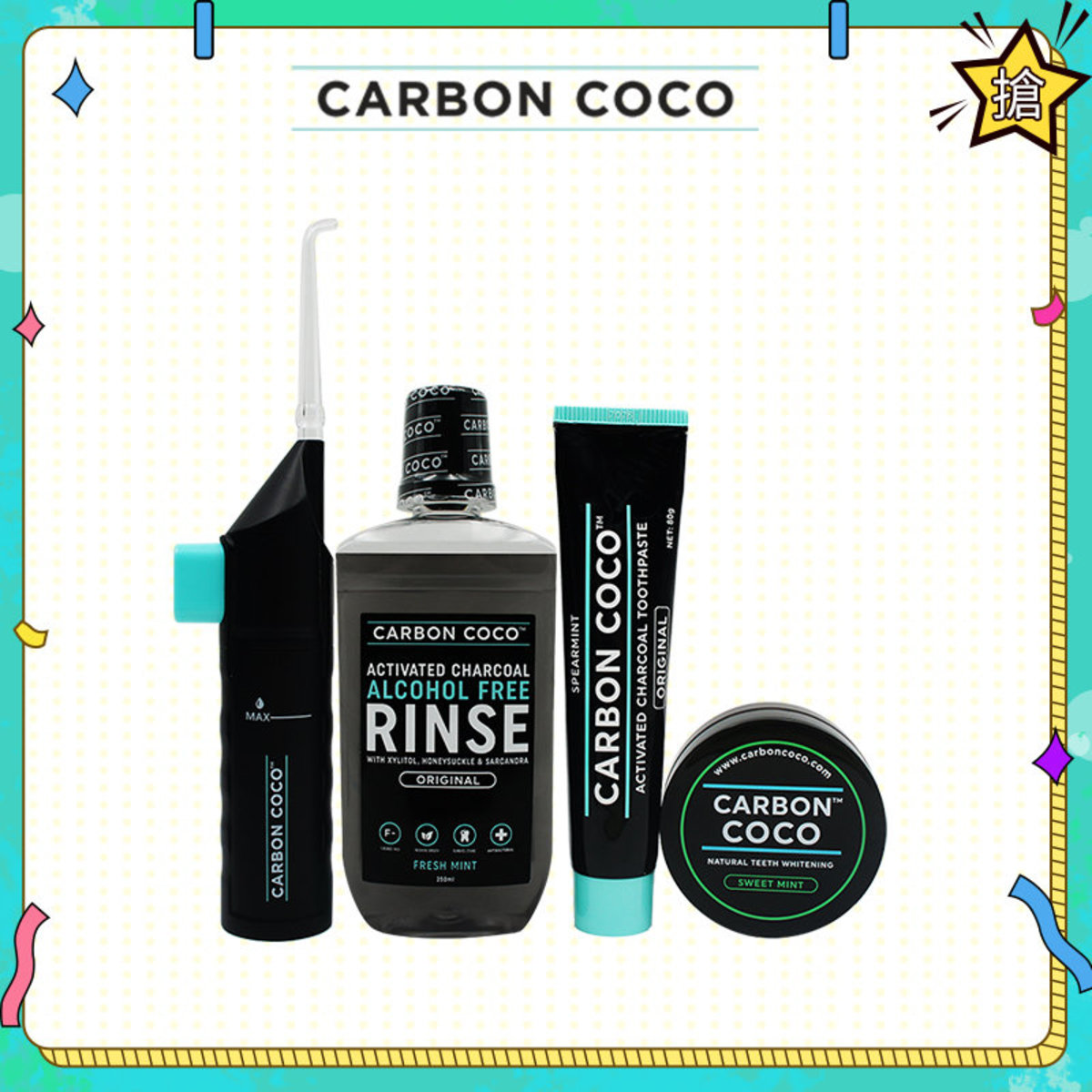 Natural Teeth Whitening(Sweet Mint)+Toothpaste+Carbon aqua flosser+alcohol free rinse set