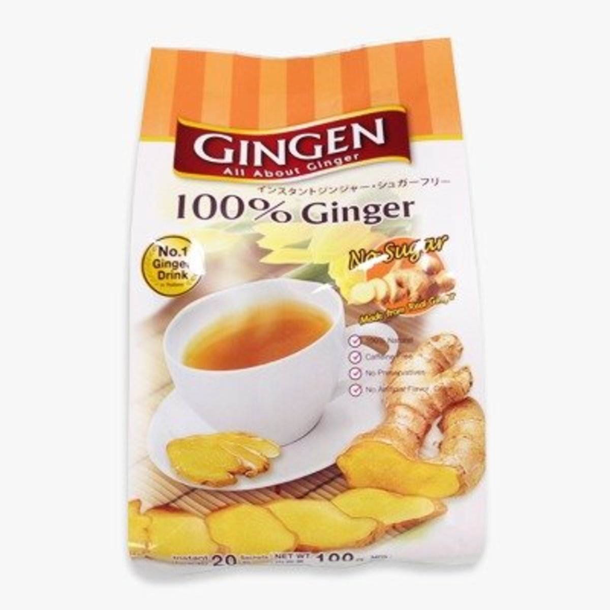 Gingen 100%(No Sugar)Instant Ginger  (5g x 20 sachets)