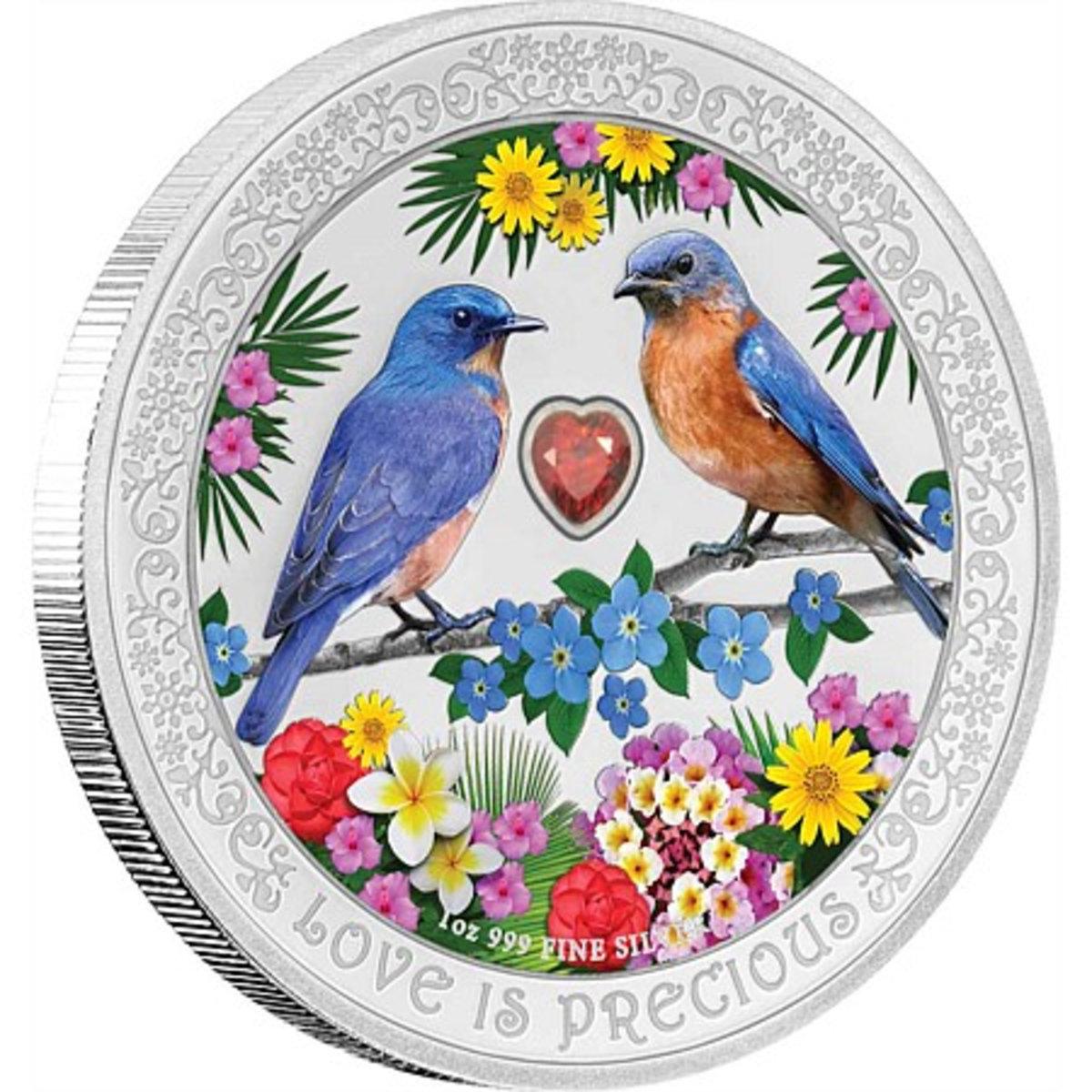 紐埃2019幸福知更鳥彩色鑲晶99.9%精鑄銀幣1盎司