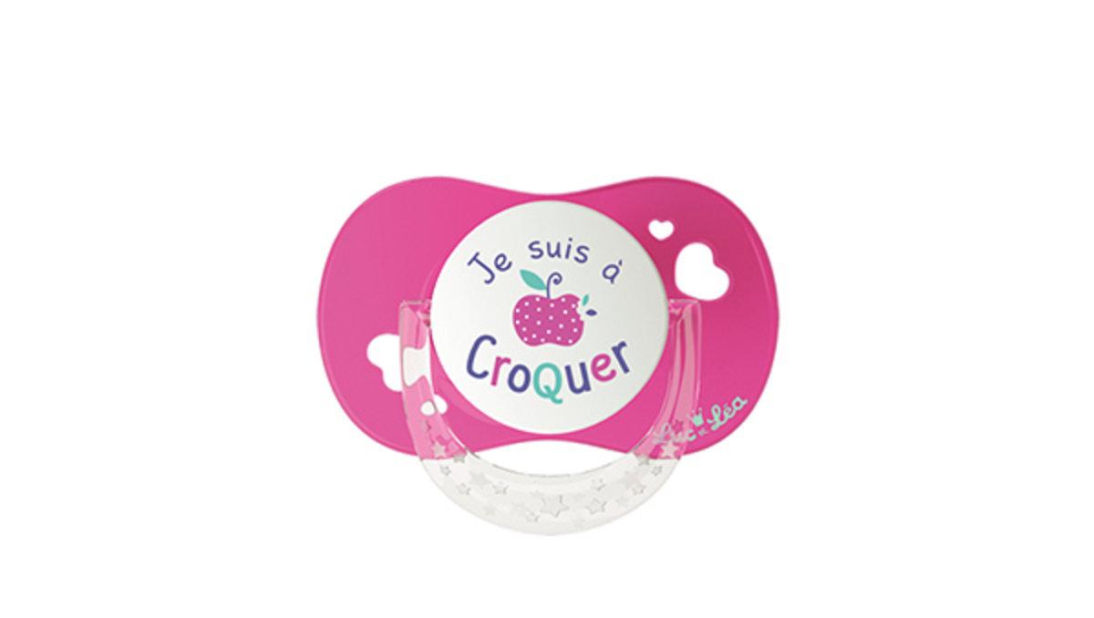 (適合18個月或以上)法國LEL拇指型趣緻奶嘴-粉紅小蘋果