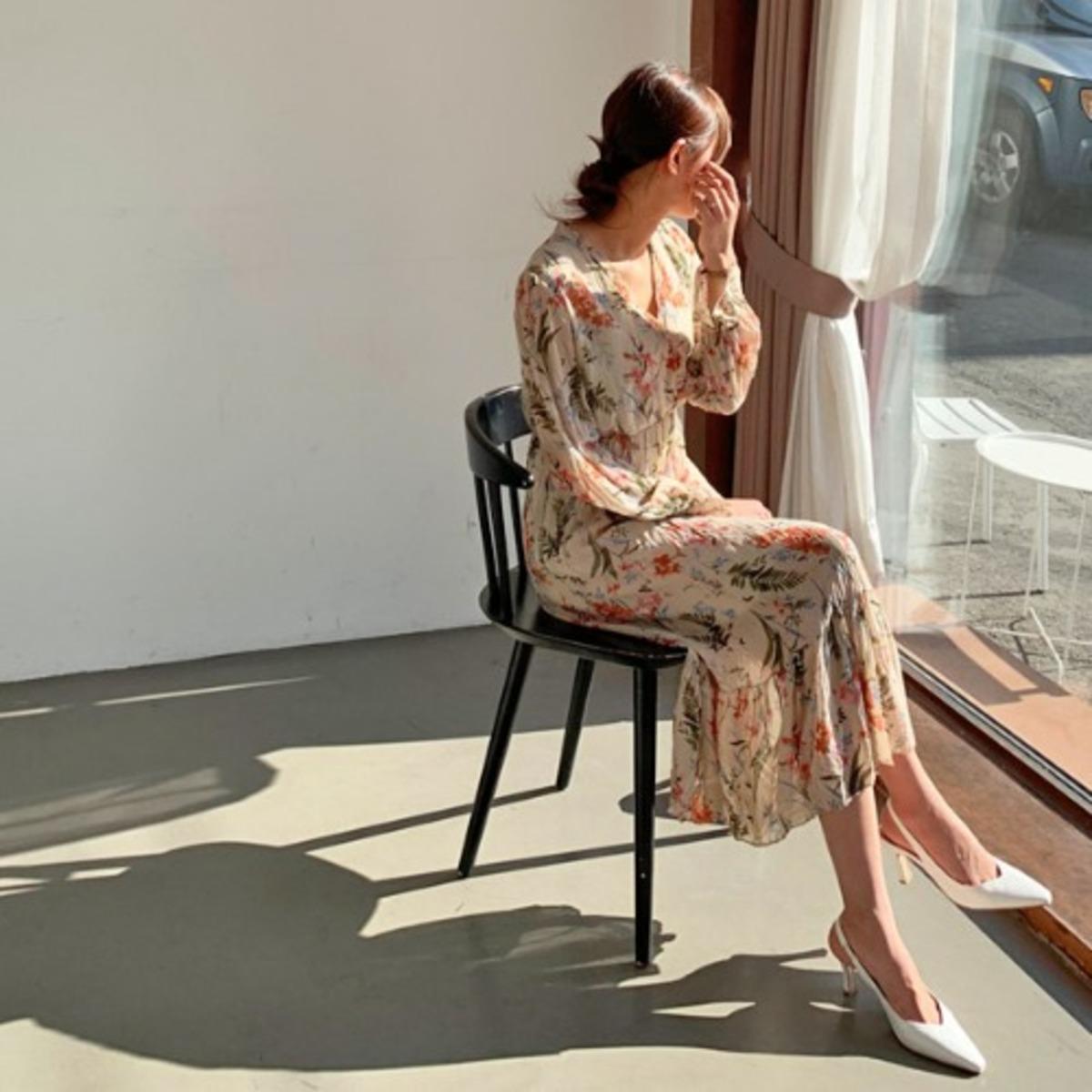 J. Flower Long Dress