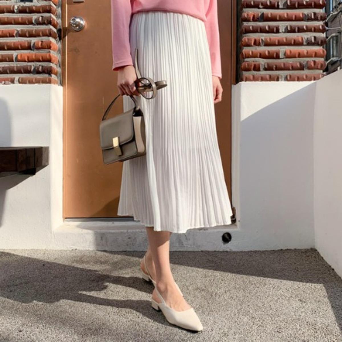 純色壓褶半截裙