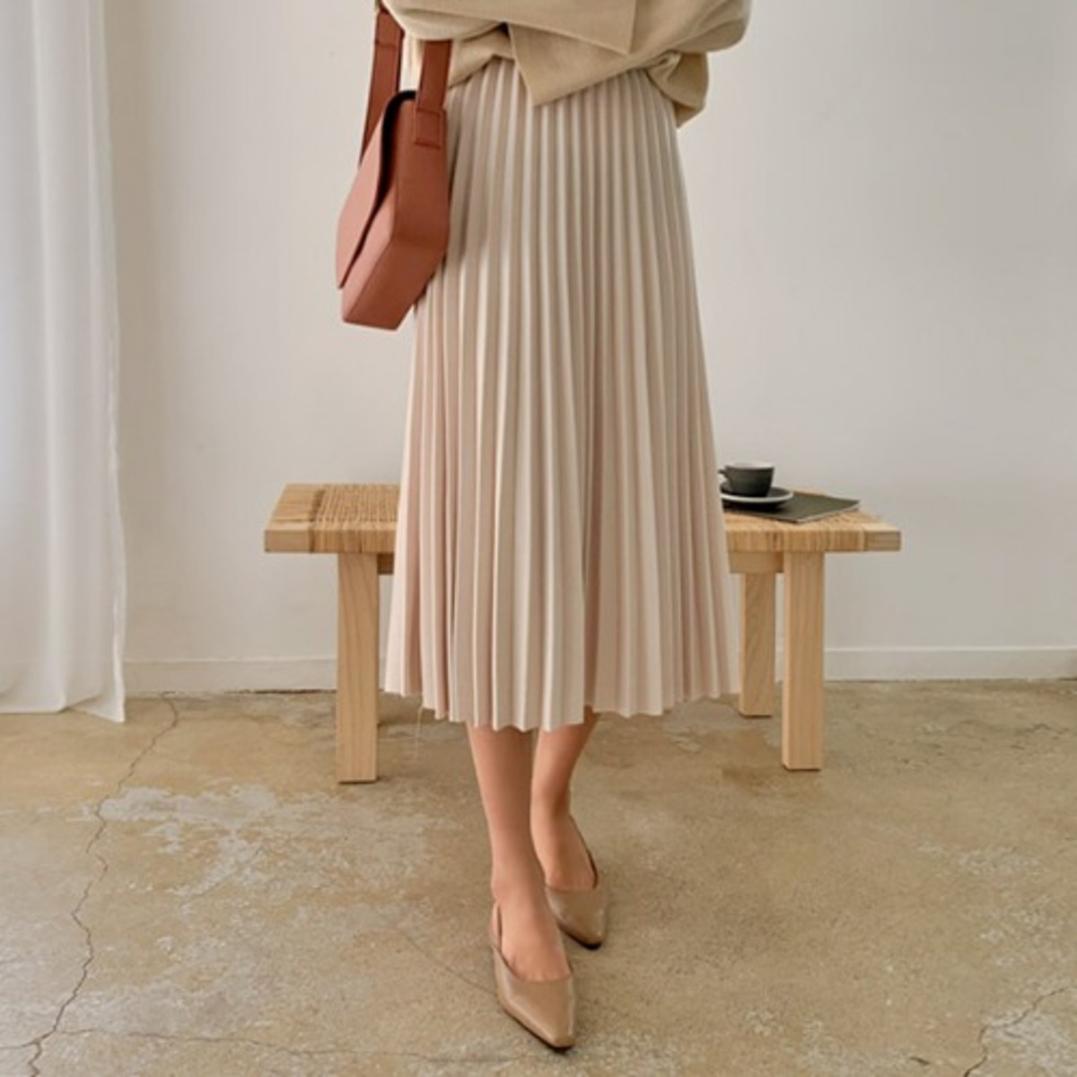 Latte Pleated Long Skirt