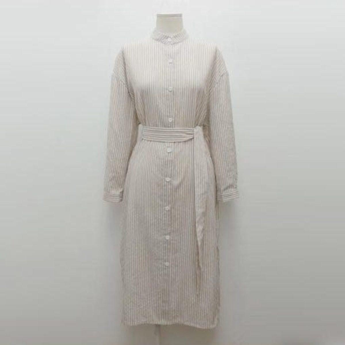 直條企領插袋連身裙