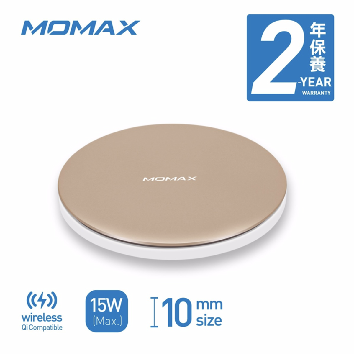 Q.Pad Max 15W Fast Wireless Charger - Gold