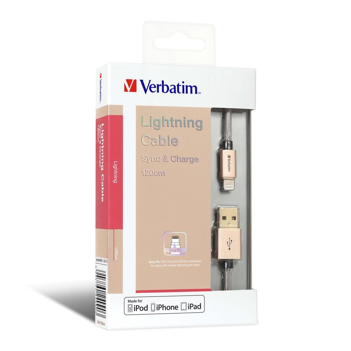 120cm Step-up Lightning 充電傳輸線 (#64990) - 金色 #數據線 iOS iPhone iPad