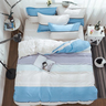 1880 針新款純棉床品套裝 - 藍白間條款-雙人