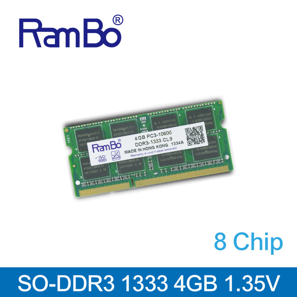 4GB DDR3 1333MHz SO DIMM 8-Chip 1.35V Memory for Notebook / Laptop