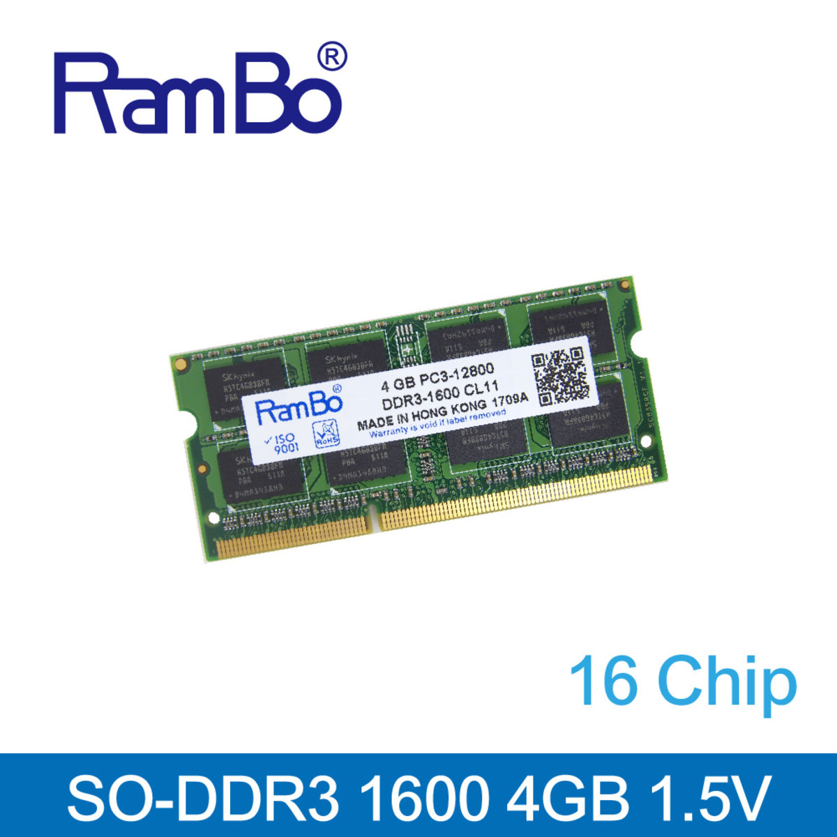 4GB DDR3 1600MHz SO DIMM 16-Chip 1.35-1.5V Memory for Notebook / Laptop