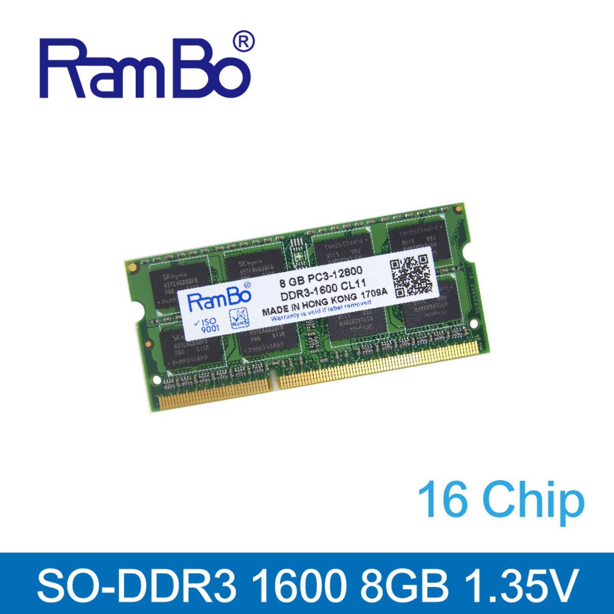 8GB DDR3 1600MHz SO DIMM 16-Chip(雙面) 1.35V 記憶體 內存條 筆記本電腦適用 Notebook