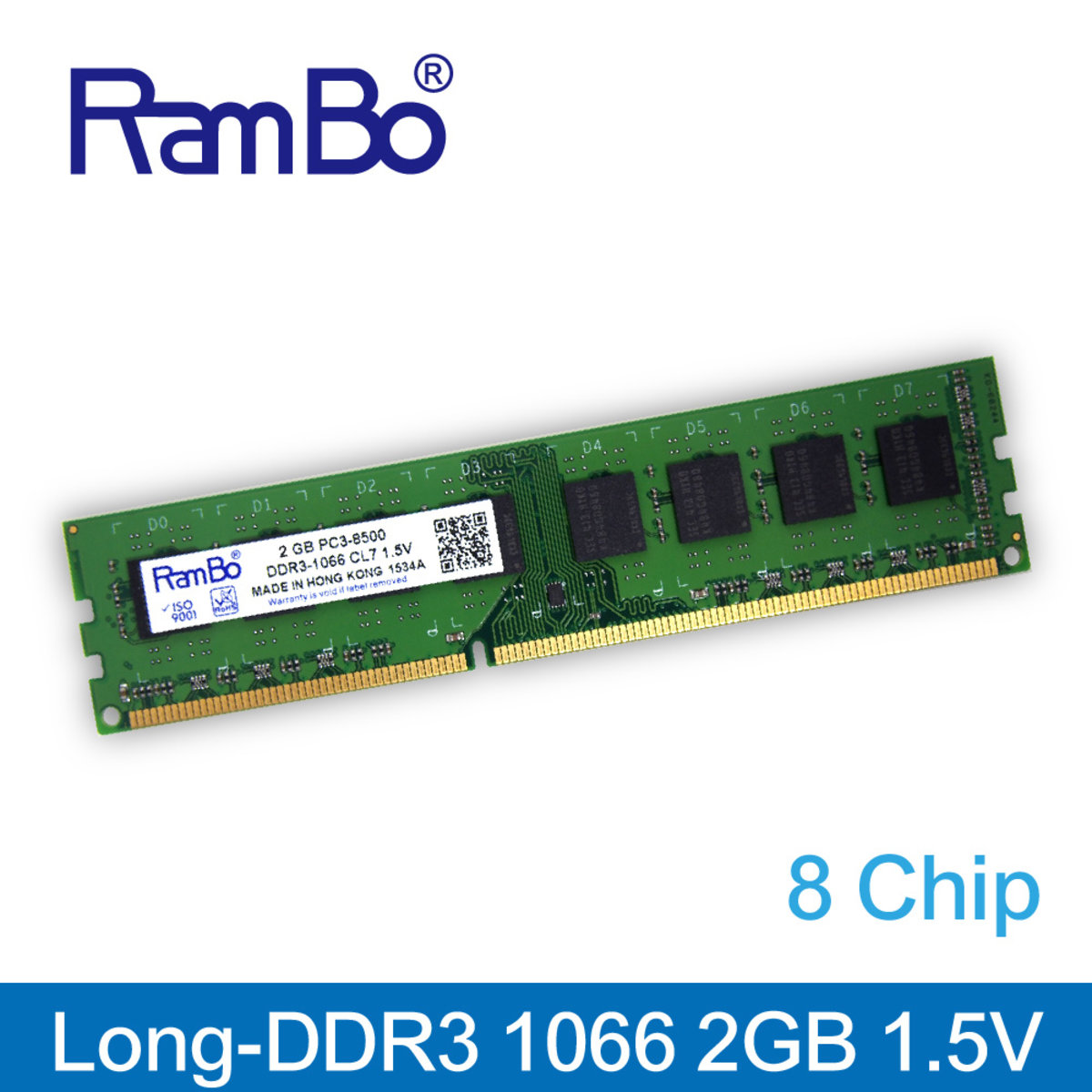 2GB DDR3-1066 PC3-8500 Long DIMM 8-Chip 1.5V Memory for PC Desktop