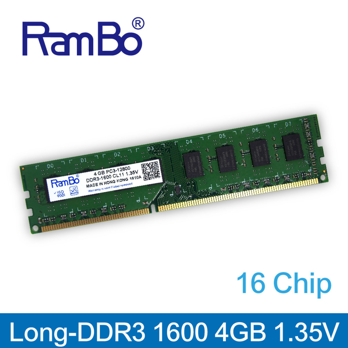 4GB DDR3 1600MHz Long DIMM 16-Chip(雙面) 1.35V 記憶體 內存條 台式電腦適用 PC