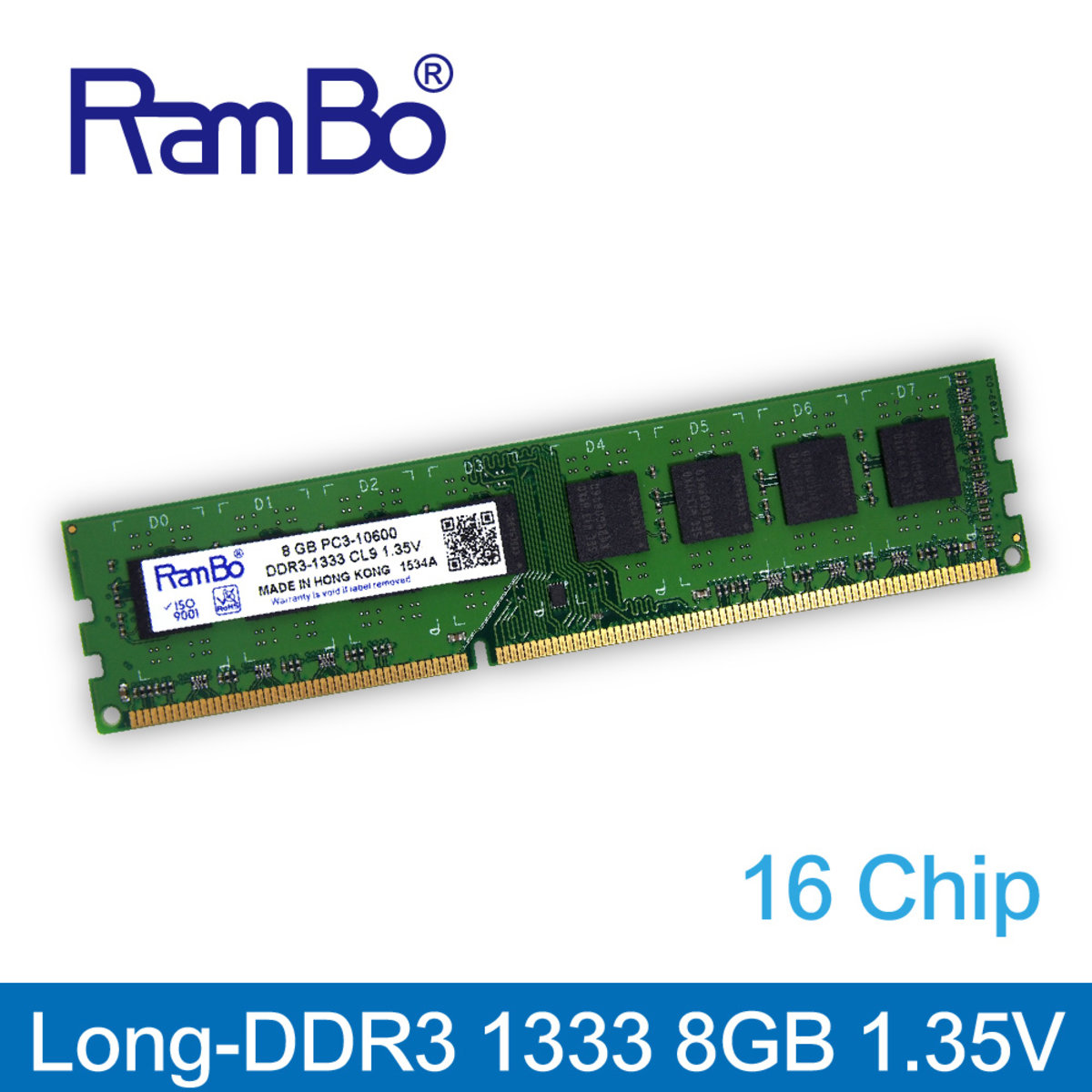 8GB DDR3 1333MHz Long DIMM 16-Chip 1.35V Memory for PC Desktop