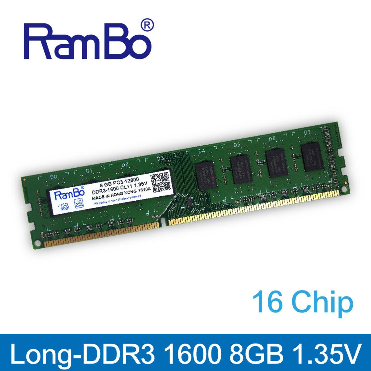 8GB DDR3 1600MHz Long DIMM 16-Chip 1.35V Memory for PC Desktop