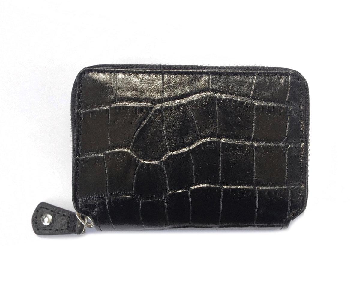 「限時優惠」女裝鱷魚紋皮迷你拉鍊銀包 (黑色)