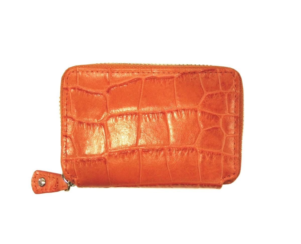(Special Offer) Castello Unisex Genuine Crocodile Embossed Zipped Mini Wallet (Orange)