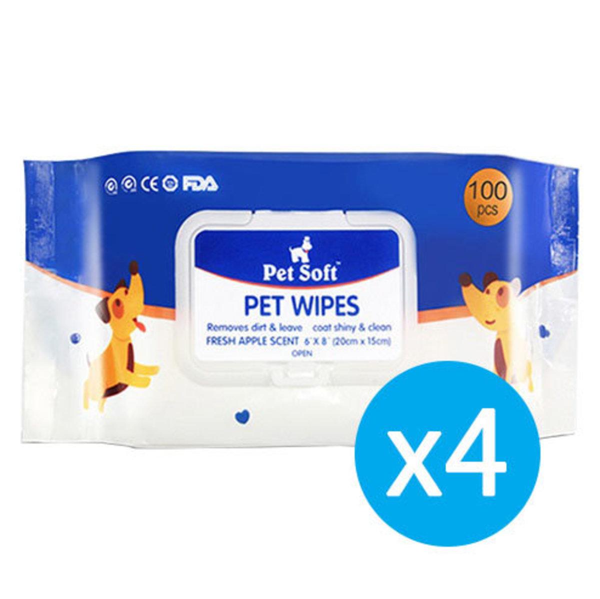 (4件裝)Pet Soft Wipes寵物濕紙巾100片