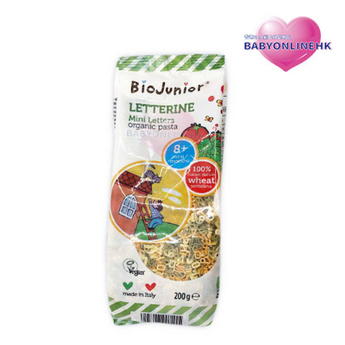 ORGANIC baby Pasta - vegetable small letters pasta / spaghetti 8+ 200g (Parallel Imports Product)