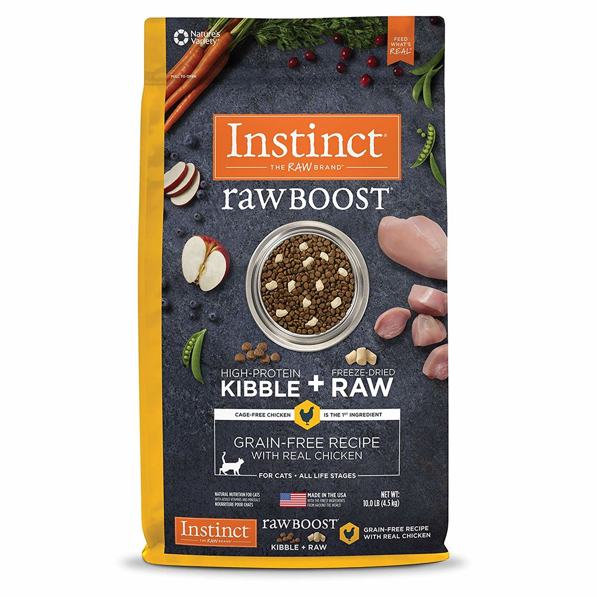 Raw Boost Grain-Free Recipe with Real Chicken Dry Cat Food 10lb