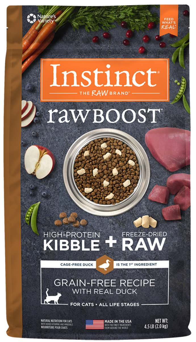 Raw Boost Grain-Free Recipe with Real Duck Dry Cat food 4.5lb