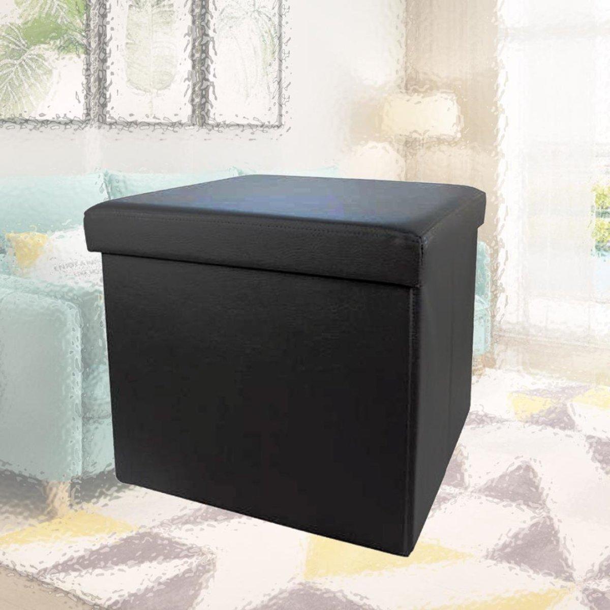 PVC儲物收納凳 黑色彷皮