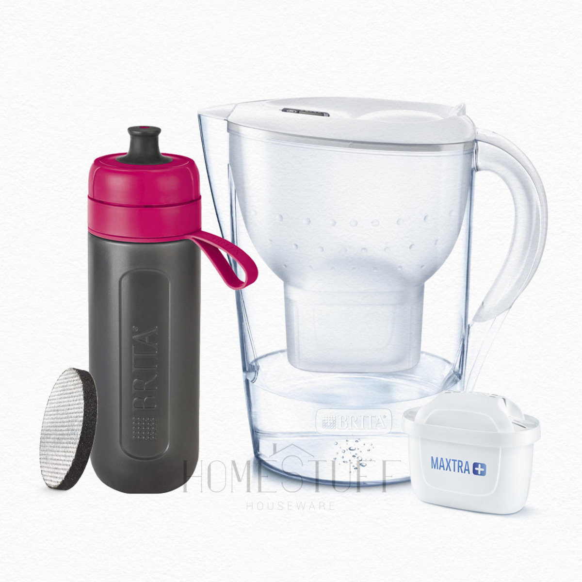 [SET] Marella Cool 2.4L White Jug + Fill&go Active Bottle Pink
