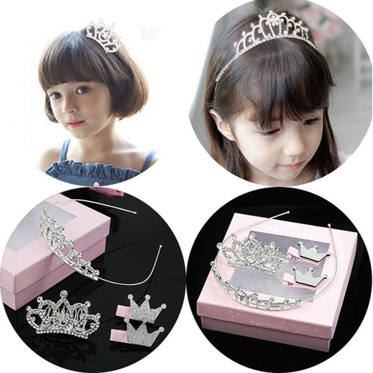 Shiny rhinestone little princess headwear set