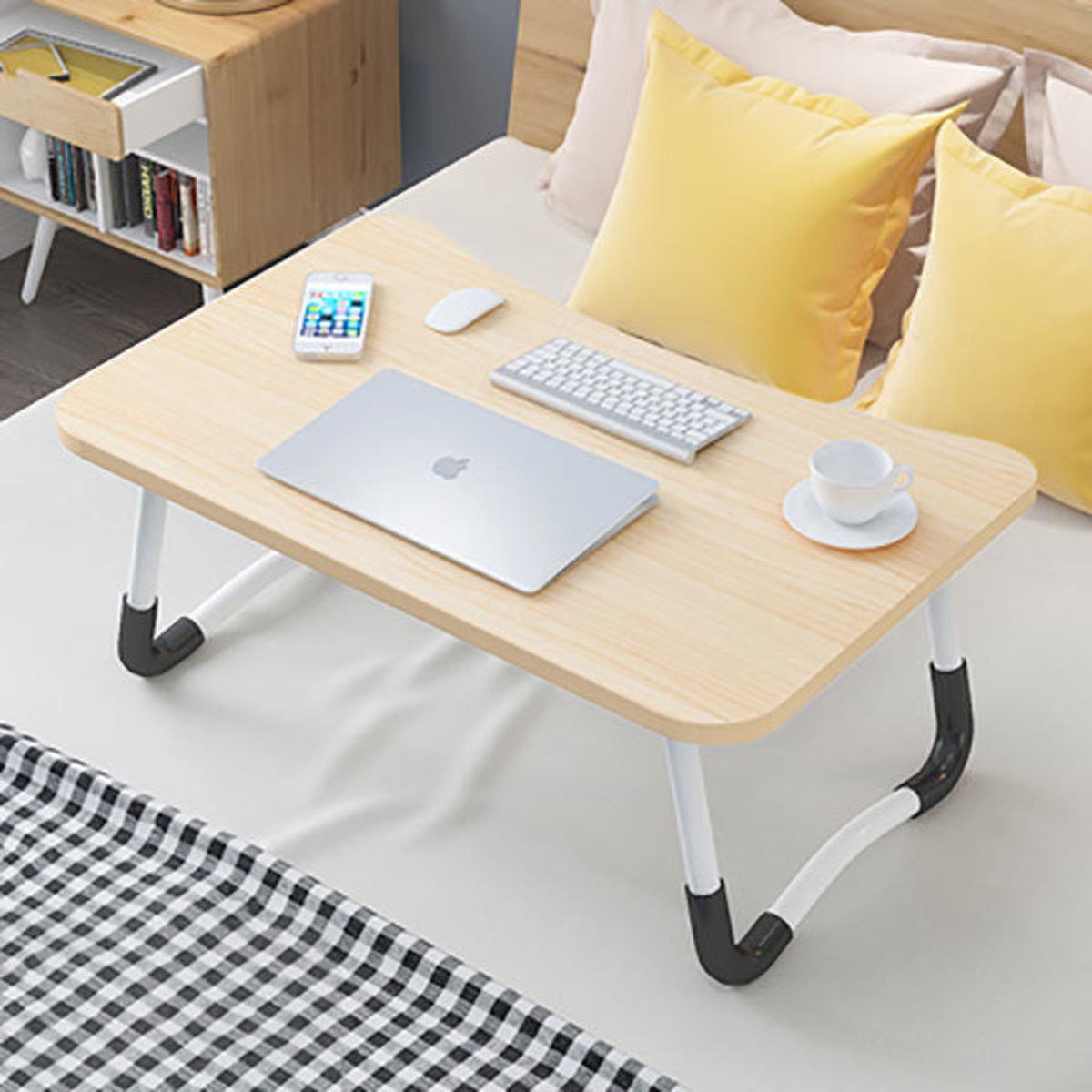 床上懶人可折疊電腦檯小書檯(木紋色)