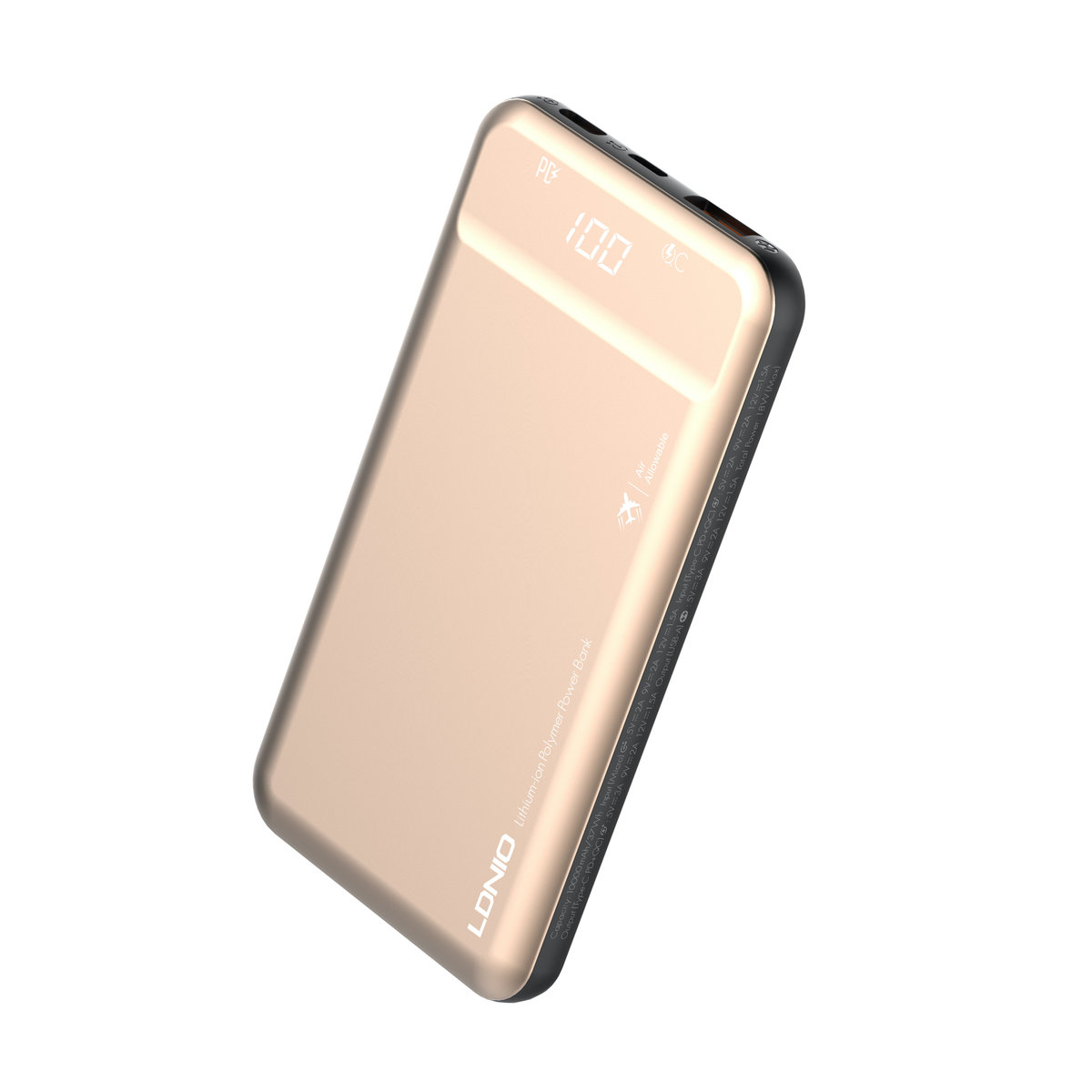 LDNIO PQ1015 PD 10000mAh PowerBank QC3.0 - Gold