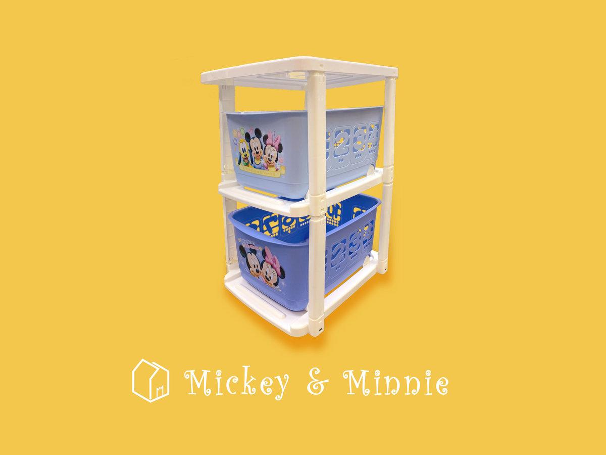 """正版 Baby Mickey 兩層滾輪儲物架 玩具箱 28"""" x 17"""" x 19"""""""
