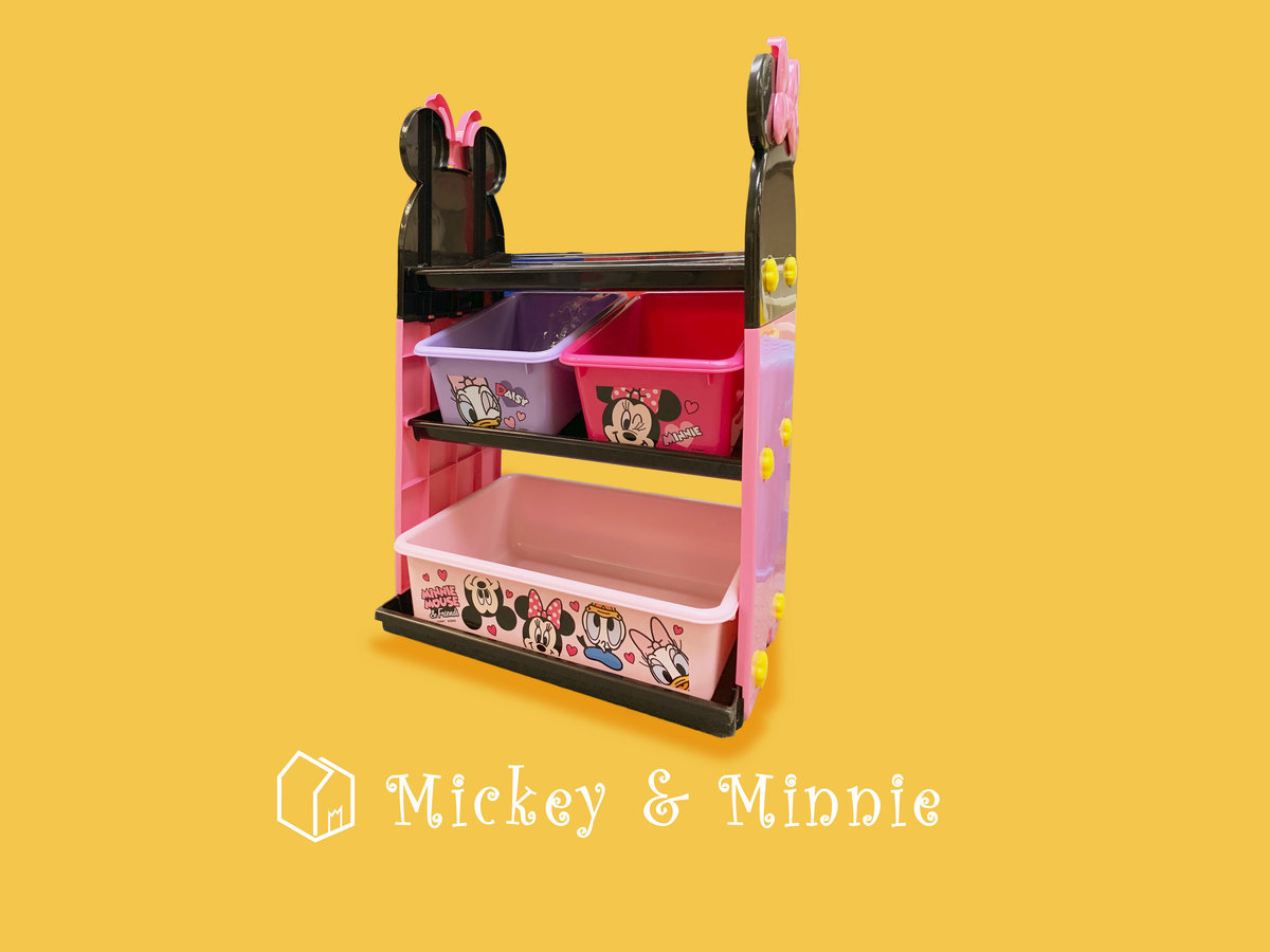 [Original] Minnie Mouse Three-layer children's toy storage Trolley  W500 x D325 x H750mm