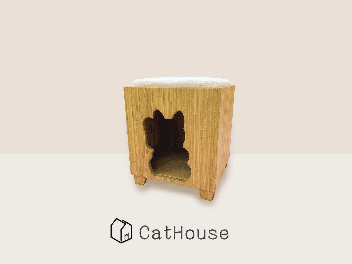 Hand-made Bamboo Wood Pet House 35cm x 35cm x 40cm