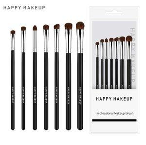 Others HappyMakeup 7支眼影化妆刷 小馬毛眼部化妝刷 煙熏妝眼影刷 化妝刷 (黑色)