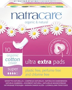 Natracare Organic Cotton Ultra Extra Pads with wings (26cm Super) - Prevent AFI 10 pads