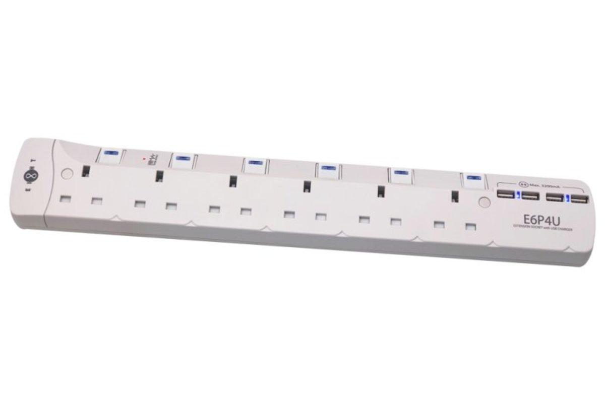 EIGHT E6P4U 6位13A+4個USB 拖板 (白色)