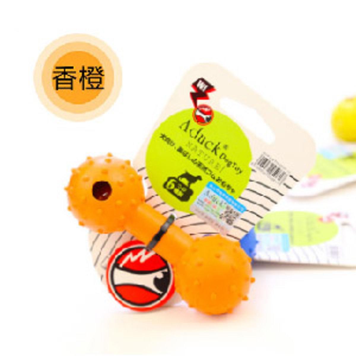 Aduck 橡膠啞鈴帶鈴鐺耐咬潔齒狗狗玩具 (橙)
