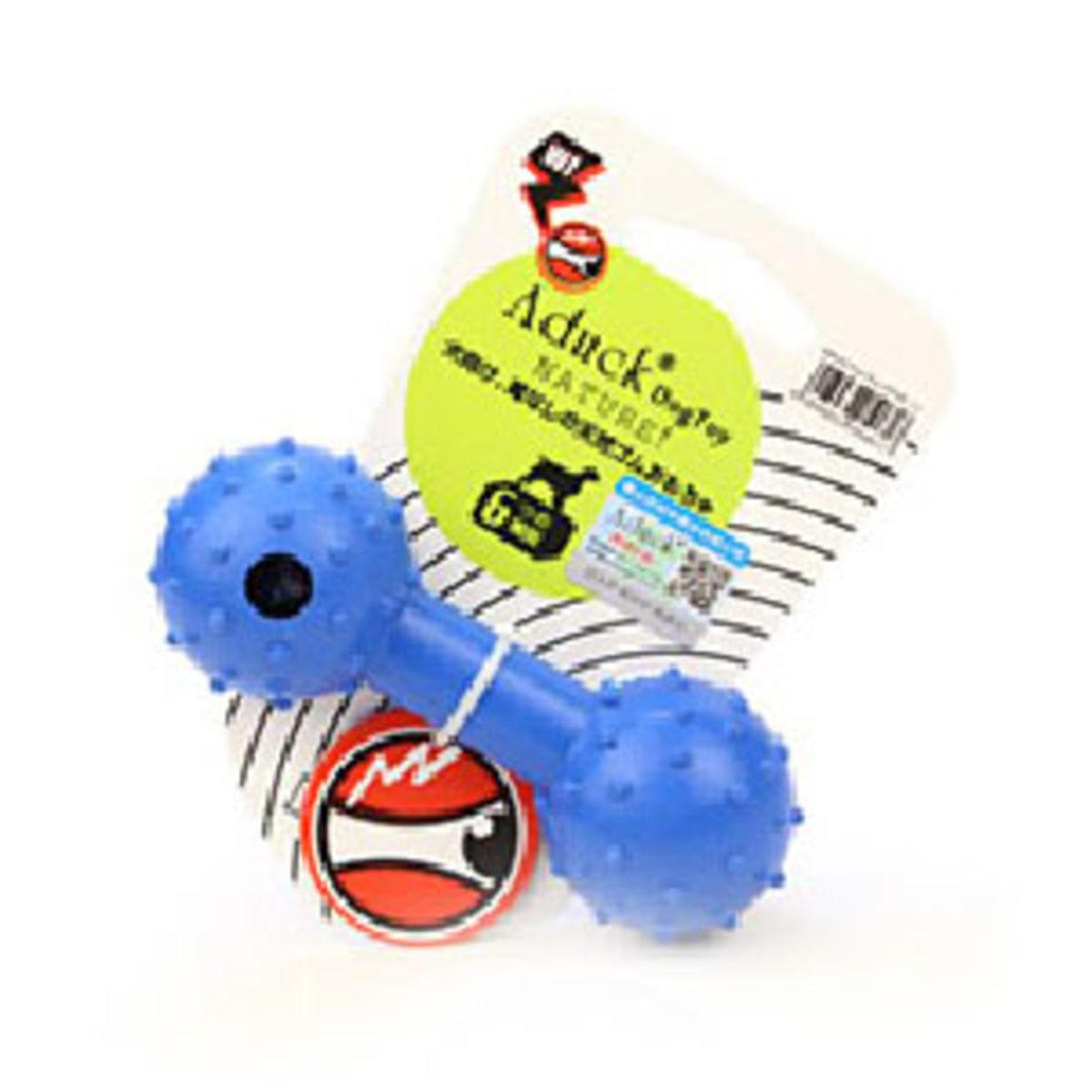 Aduck 橡膠啞鈴帶鈴鐺耐咬潔齒狗狗玩具 (藍)