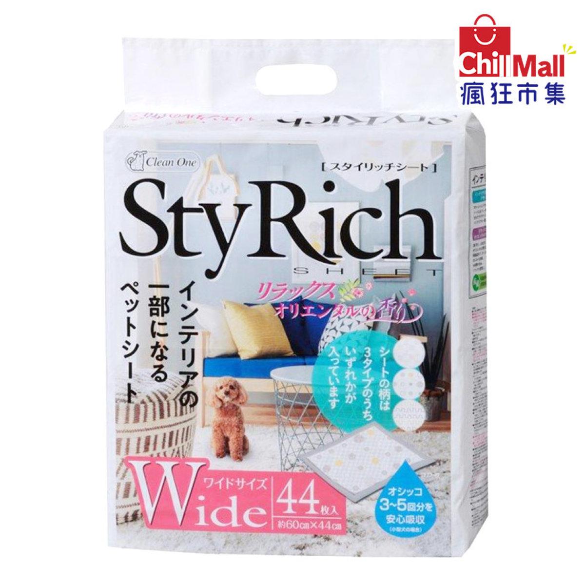 日本StyRich Wide 花香味寵物尿墊 狗尿墊 狗尿片 [44*60 L碼 44枚入] (白粉紅) 8113583