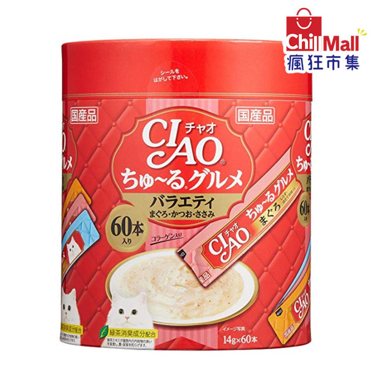 日本CIAO肉泥餐包 吞拿魚.鰹魚雞肉肉醬 14g SC-138 60本罐裝 (紅) 3718649