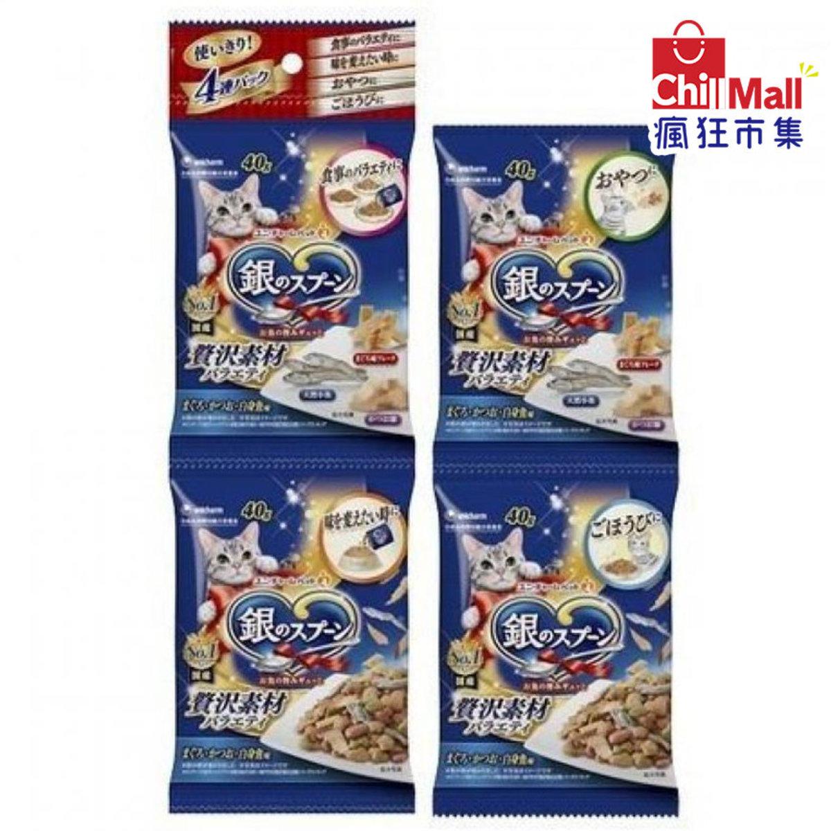 日本unicharm 三星銀匙 貓脆餅 金槍魚鰹魚及白魚 40g 4本入 (藍) 9621523