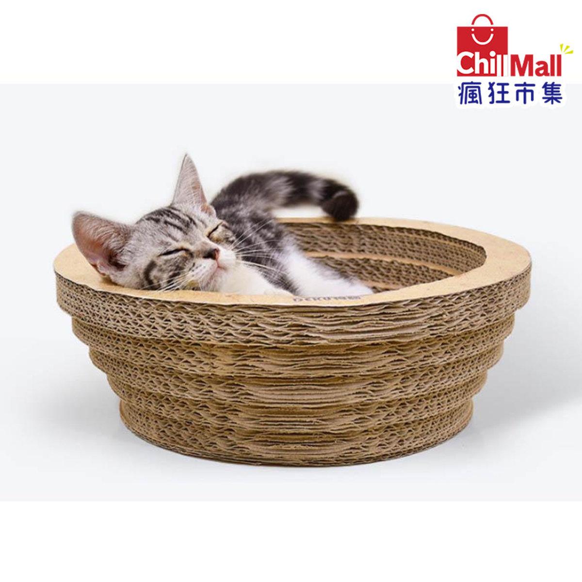 瓦楞紙貓抓板 碗形一層層淺 小號 [33.5*11cm]