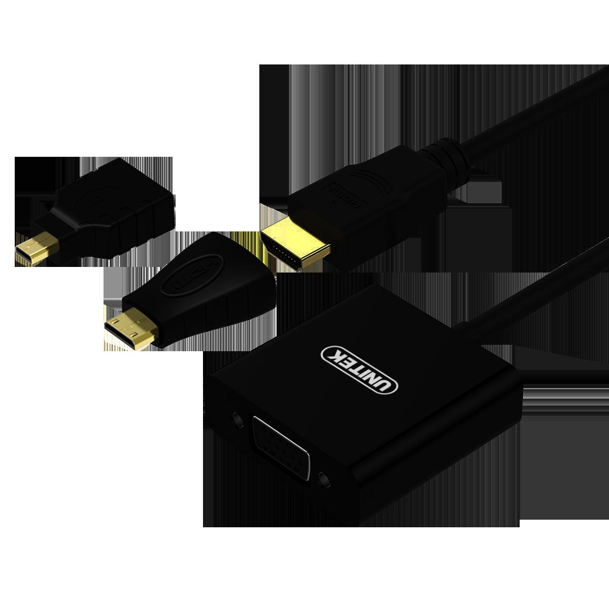 Y-6355 HDMI to VGA轉接器 (配 Micro HDMI to HDMI/ Mini HDMI to HDMI 轉接頭)