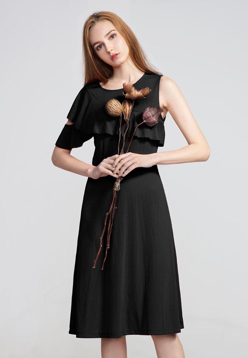 Ruffles asymmetric shoulder light-evening dress