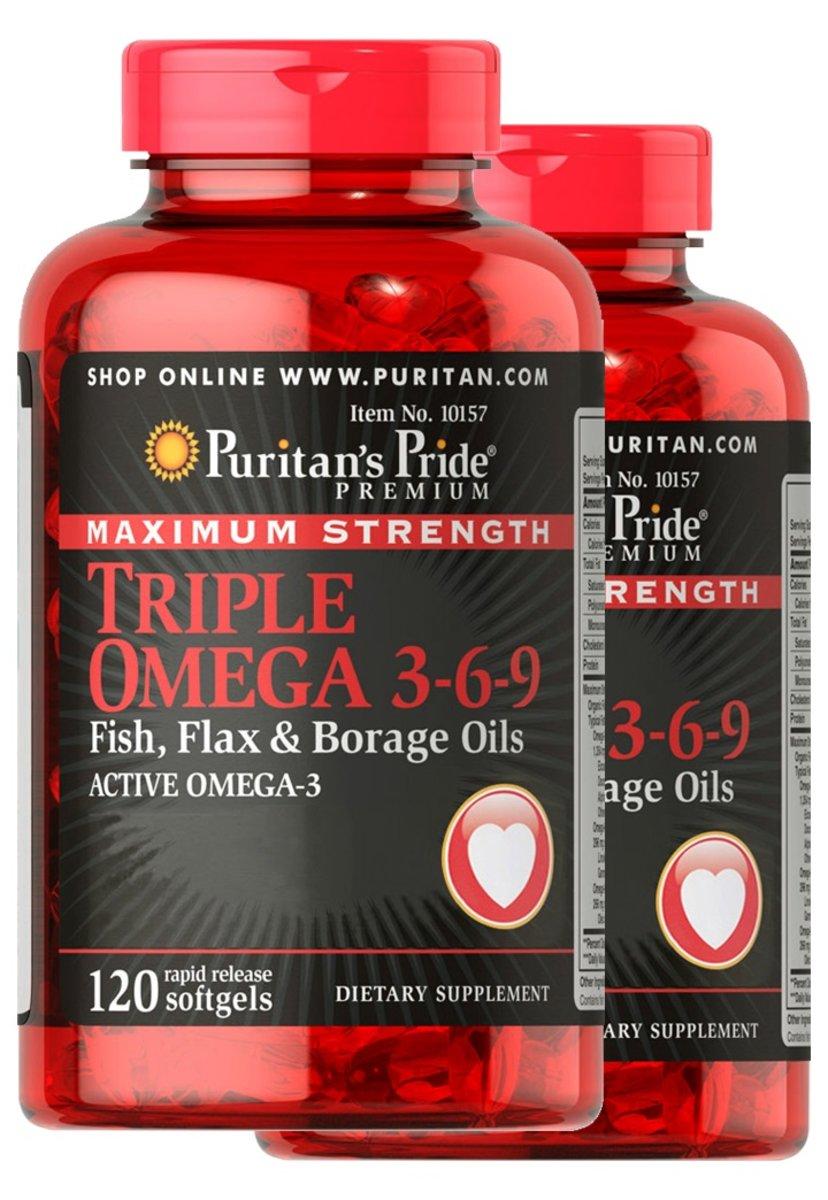 2 bottles - Maximum Strength Triple Omega 3-6-9 Fish, Flax & Borage Oils 120s(EXP:1/2021)