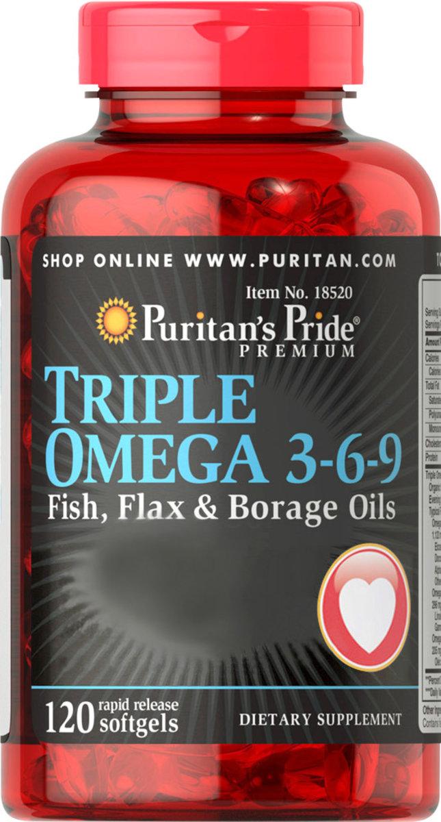 奧米加3-6-9 (亞麻籽油、魚油、月見草油和琉璃苣油專利配方) 120粒 [有效日期 12/2019]