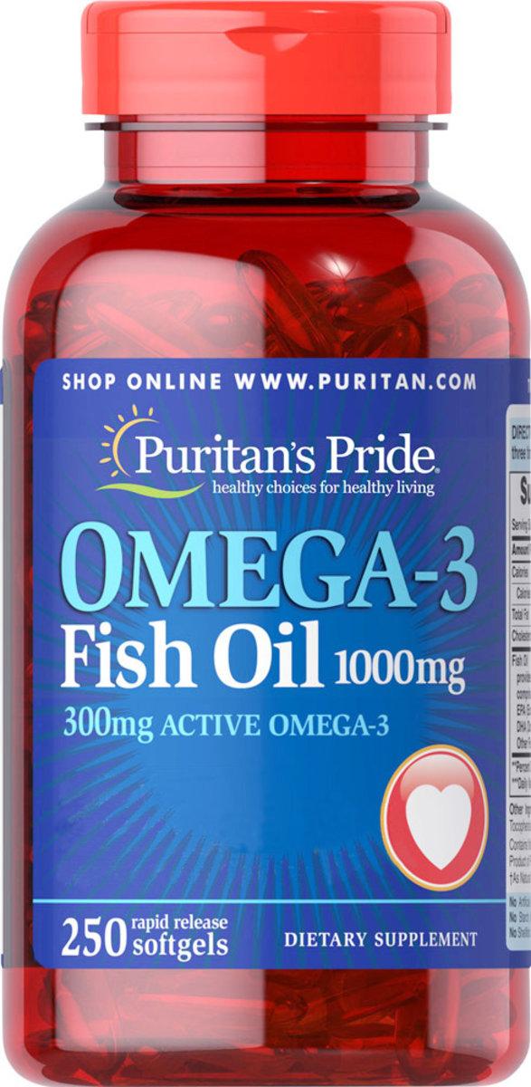 奧米加3魚油丸1,000毫克 (含300毫克活性奧米加3) 250粒裝 [有效日期 11/2019]