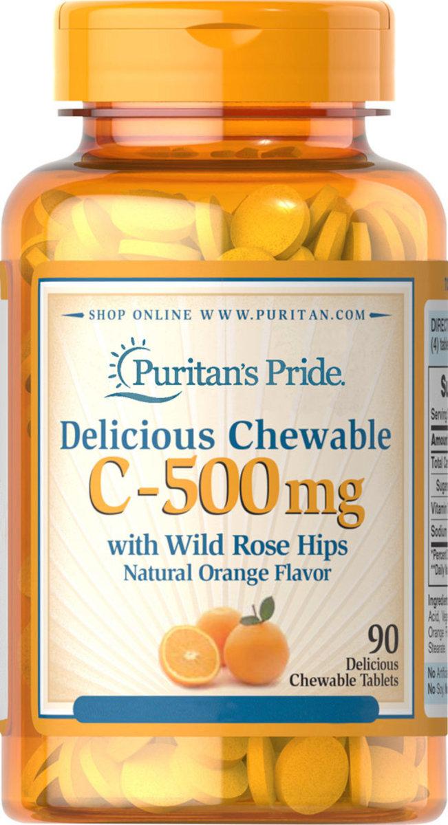 C-500毫克美味咀嚼片(含野生玫瑰果) 90粒 [有效日期 1/2020]